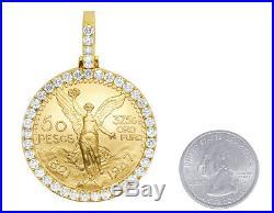 Mens Ladies 24K Yellow Gold Mexico 50 Pesos Coin Frame Diamond Pendant 5 1/4 Ct