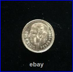 Mexico 1945 2 1/2 Peso 22k Gold Coin & 14k Pin Earring