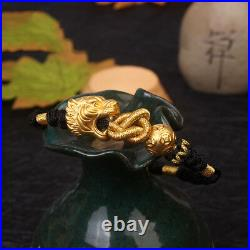 NEW Pure 24K Yellow Gold Tiger with Coin Lucky Bead Black Cord Knitted Bracelet