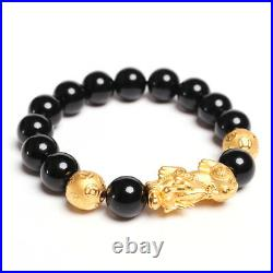 NEW Pure 24K Yellow Gold Wealth Pixiu Coin Bead with Black Agate Beads Bracelet