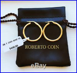 NWT! $440 Roberto Coin 18K Yellow Gold Perfect Hoop 25mm Earrings
