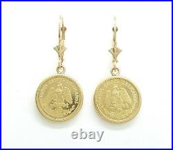 New 14k yellow Gold coin Earring lever Back fine gift jewelry for women 4.3g