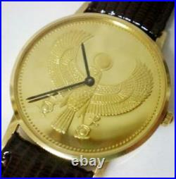 New Franklin Mint Golden Falcon 18k Solid Gold Coin Watch