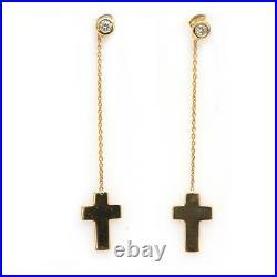 New Roberto Coin 18K Yellow Gold & Diamond Cross 2 Drop Dangle Earrings NWT