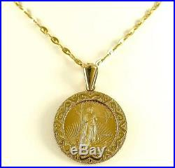 PENDANT 5 Dollar 2005 LIBERTY Gold Coin set in 14k Solid Gold New