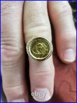 Panda Coin Ring In 14 K Yellow Gold Weights 6.8 Grams