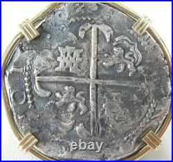 Philip IV Potosi Assayer PT Shipwreck 8 Reale Cob Coin 14k Yellow Gold Pendant