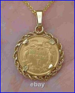 Pre-Civil War 23K Gold Coin 1856 $1 Princess Head Pendant Necklace 14K YG