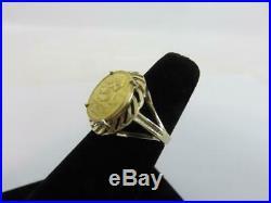 Pretty CHINESE 1/20 oz Gold PANDA COIN in 14K RING 5 Yuan 1989 Size 6.5 CHINA