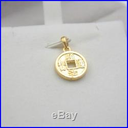 Pure 999 24k Yellow Gold 3D Best Gift Craved Lucky Coin Pendant / 1.3-1.5g