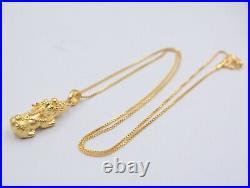 Pure 999 24k Yellow Gold Pendant 3D Lucky Coin Pixiu Pendant / 1.7g