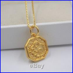 Pure 999 24k Yellow Gold Pendant 3D Octagon Coin Mouse Pendant / 1.6g