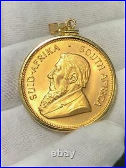 Pure. 999 Fine Gold 1974 Krugerrand South Africa 1oz Coin 14k Gold Frame Pendant