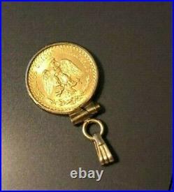 RARE 14K YELLOW GOLD 14MM COIN PENDANT With a 22KT GOLD MEXICAN DOS PESOS COIN