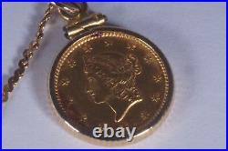 RARE 1853 $1 GOLD COIN Bezel Necklace