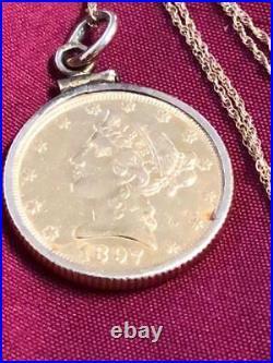 RARE 1897 Gold $5 Liberty Head Gold Coin 1/4oz, 14K Bezel & Chain Necklace
