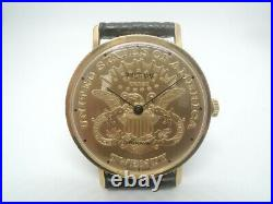 RARE 1980 WALTHAM Coin Style Man Gold Plated 10M Swiss HT001 Manual Winding 17J