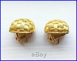 RARE $3400 Roberto Coin 18K Gold LARGE Appassionata Silk Weave Stud Earrings