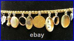 RARE Victorian Charm Bracelet with 23K, 18K, 14K, 10K Charms 36. G COIN LOVE TOKEN