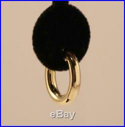 ROBERTO COIN 18K YELLOW GOLD OVAL SHAPE 0.79 INCH DROP HOOP EARRINGS, 4mm THICK