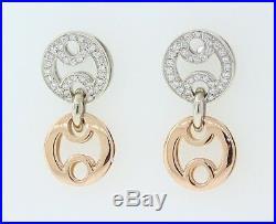 ROBERTO COIN 18k Rose & White Gold. 50ct Round Diamond 24.2mm Dangle Earrings