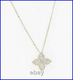 ROBERTO COIN 18k Yellow Gold 0.17ctw Diamond Medium Princess Flower Necklace