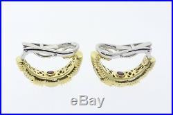 ROBERTO COIN 18k Yellow & White Gold. 50ctw Diamond Appassionata Earrings