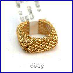 ROBERTO COIN New 18K Yellow Gold Silk Square Band Ring Size 6.5