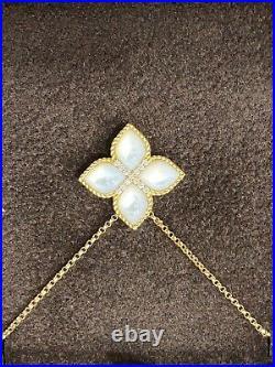 ROBERTO COIN Venetian Princess 18K Large Flower MOP and Diamond Pendant NEW