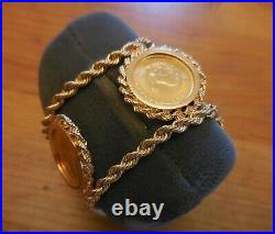 Rare 14k Gold Bracelet With 5 Each 1/10th oz Krugerrand Coins Estate Jewelry
