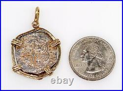 Rare $1800 Genuine SPANISH 8 REALE CRUSADE COIN 14k Yellow Gold SILVER Pendant