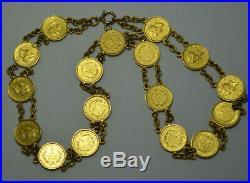 Rare 22k Sold Gold $1 US 17 Coins 1849-1853 Unique Necklace Bracelet Antique