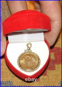 Rare Antique 1904 Gold Russian Coin In Bezel 5 Roubles Pendant 5.92 Grams Russia