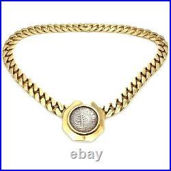 Rare! Bvlgari Bulgari 18k Gold 1652 MA Pine Tree Shilling Coin Link Necklace