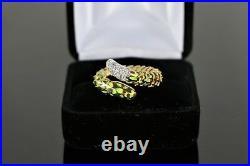 Rare Roberto Coin 18K Yellow Gold Round Diamond Enamel Cobra Wrap Ruby Ring Band