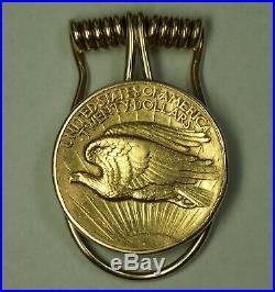 Raymond Yard 1907 High Relief Gaudens Double Eagle $20 Gold Coin 14K Money Clip