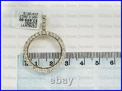 Real 10K Yellow Gold Genuine Natural Diamonds Coin Bezel 21 MM Pendant Charm