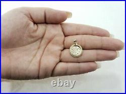 Real 10k Yellow Gold Coin Replica Dos Pesos Pendant Charm 18' Figaro Chain Set