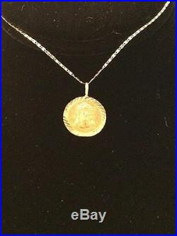 Real 14K Yellow Gold Jesus Face Coin Pendant Charm with Gucci Chain 20 Inch