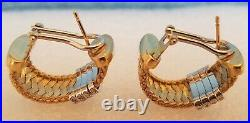 Roberto Coin 18K Gold Silk Weave Hoop Earrings with 4 Rows of Pave Set Diamonds