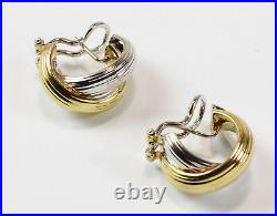 Roberto Coin 18K White & Yellow Gold X Crossover Hoop Omega Back Post Earrings