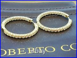 Roberto Coin 18K Yellow Gold Inside Out Diamond Hoop Earrings
