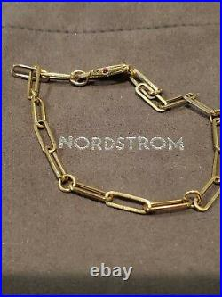 Roberto Coin 18K Yellow Gold Paper Clip Link Bracelet with Ruby Size 7