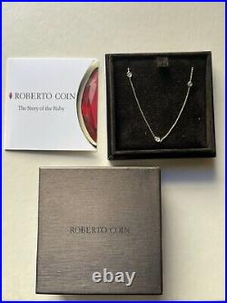 Roberto Coin 18K Yellow Gold seven Station Diamond Necklace 18 New