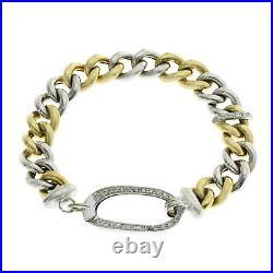 Roberto Coin 18K Yellow & White Gold Diamond Ruby Link Bracelet Size 7