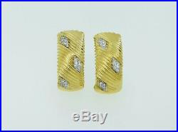 Roberto Coin 18K Yellow & White Gold Ribbed. 36ctw Diamond Omega Earrings