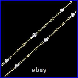 Roberto Coin 18k Gold Dog Bone Chain Necklace 7 Diamond By The Inch 7 Stations
