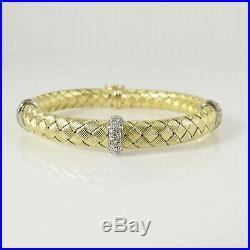Roberto Coin 18k Yellow Gold 1.46tcw Silk Weave Diamond Station Bracelet