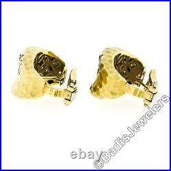 Roberto Coin 18k Yellow Gold 1ctw Diamond Hammered Textured Wide Huggie Earrings