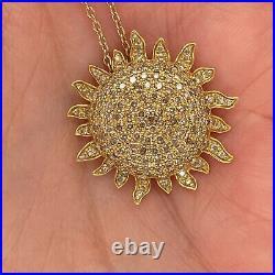 Roberto Coin 18k Yellow Gold Diamond Sunflower Pendant New $4899